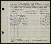 Entry card for Wands, Alfred J. for the 1937 May Show.