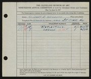 Entry card for Weinberg, Sidney E. for the 1937 May Show.