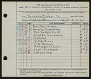 Entry card for West, Brennan B., Jr. for the 1937 May Show.