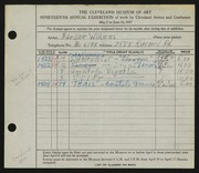 Entry card for David, Adeline Wilkens for the 1937 May Show.