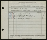 Entry card for Williams, Henry W. for the 1937 May Show.