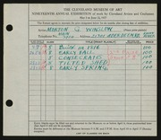 Entry card for Winslow, Morton G. for the 1937 May Show.