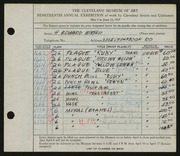 Entry card for Winter, H. Edward for the 1937 May Show.