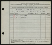 Entry card for Woldman, Edward E. for the 1937 May Show.