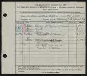 Entry card for Wolfs, Wilma Diena for the 1937 May Show.