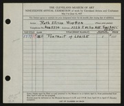 Entry card for Wootton, Ruth Ellison for the 1937 May Show.