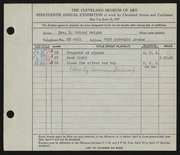 Entry card for Wright, Mrs. R. Toland, and Allison Studio for the 1937 May Show.