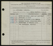 Entry card for Yuschik, Leonard for the 1937 May Show.