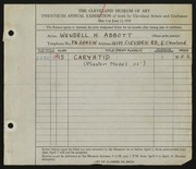 Entry card for Abbott, Wendell H. for the 1938 May Show.