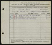Entry card for Aczel, Joseph for the 1938 May Show.