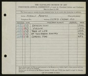 Entry card for Adams, Horace for the 1938 May Show.