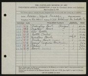 Entry card for Aitken, Irene Anabel for the 1938 May Show.