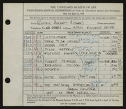 Entry card for Aitken, Russell Barnett for the 1938 May Show.