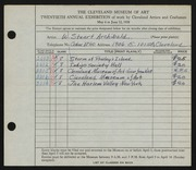 Entry card for Archibald, W. Stuart for the 1938 May Show.