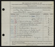Entry card for Ashdown, Ray Jay for the 1938 May Show.