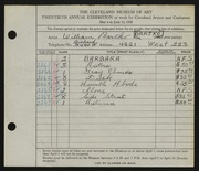 Entry card for Bartko, William for the 1938 May Show.