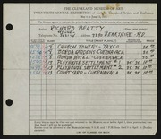 Entry card for Beatty, Richard R. for the 1938 May Show.