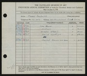 Entry card for Beckwith, Thomas for the 1938 May Show.