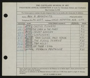 Entry card for Berkowitz, Benjamin B. for the 1938 May Show.