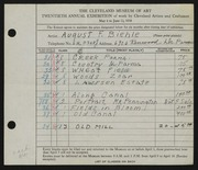 Entry card for Biehle, August F. for the 1938 May Show.