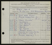 Entry card for Black, Miriam H., and Purinton Pottery (Firm) for the 1938 May Show.