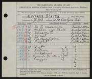 Entry card for Blazys, Alexander for the 1938 May Show.
