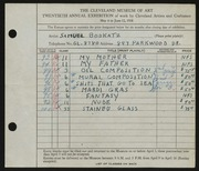 Entry card for Bookatz, Samuel for the 1938 May Show.