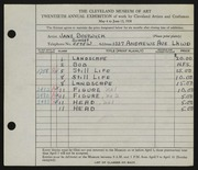 Entry card for Bostwick, Jane for the 1938 May Show.