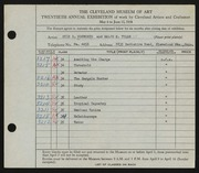 Entry card for Bosworth, Otis B., and Tyler, Ralph S. for the 1938 May Show.
