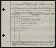 Entry card for Boynton, Henry Percy for the 1938 May Show.