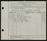 Entry card for Boza, Oliver for the 1938 May Show.