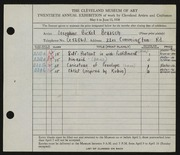 Entry card for Braasch, Josephine Bickel for the 1938 May Show.