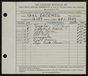 Entry card for Broemel, Carl William for the 1938 May Show.