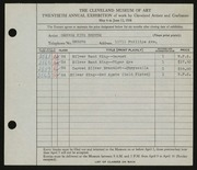 Entry card for Browne, George King for the 1938 May Show.