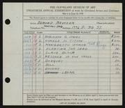 Entry card for Brucker, Edmund for the 1938 May Show.