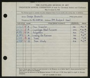 Entry card for Brunetti, George for the 1938 May Show.