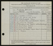 Entry card for Bryson, Marion Camp for the 1938 May Show.