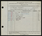 Entry card for Bundasz, Rudolph for the 1938 May Show.