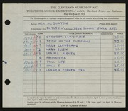 Entry card for Burton, Jack Munson for the 1938 May Show.