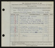 Entry card for Busch, Hans for the 1938 May Show.