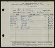 Entry card for Buscher, Alice E. for the 1938 May Show.