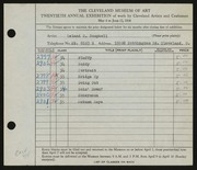Entry card for Campbell, Leland E. for the 1938 May Show.