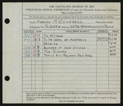 Entry card for Campbell, Marion Macdonald  for the 1938 May Show.