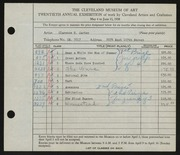Entry card for Carter, Clarence Holbrook for the 1938 May Show.