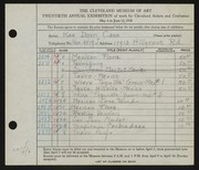 Entry card for Cass, Katherine Dorn for the 1938 May Show.