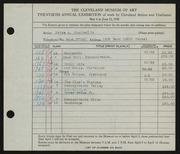 Entry card for Chamberlin, Price Albert for the 1938 May Show.