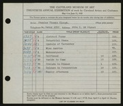 Entry card for Clough, Stanley T. for the 1938 May Show.