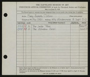 Entry card for Collins, Mary Susan for the 1938 May Show.