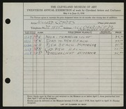 Entry card for Combes, Willard Wetmore for the 1938 May Show.