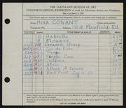 Entry card for Conant, Mina for the 1938 May Show.